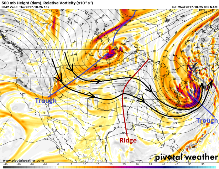 NAM Model Forecast 500mb Pattern - Valid Thursday Afternoon - pivotalweather.com