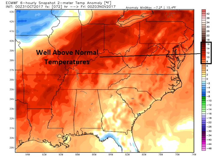 European Model Temperature Anomaly - Valid Thursday Evening - weatherbell.com