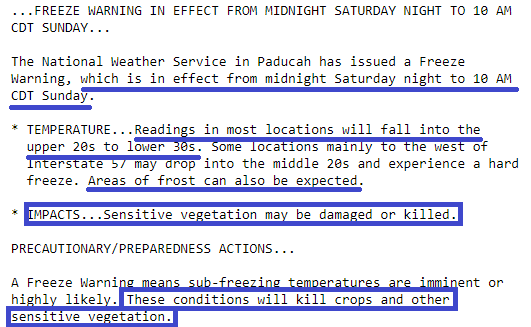NWS Paducah Freeze Warning