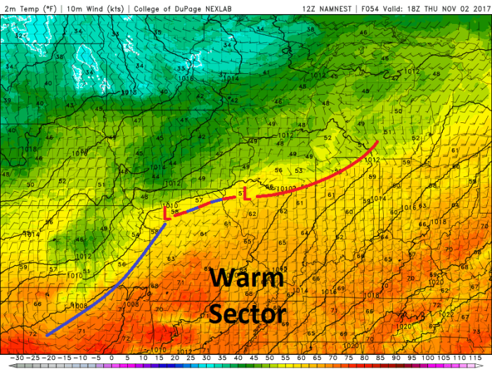 NAM Model Forecast Surface Conditions - Valid Thursday 1 PM - College of DuPage