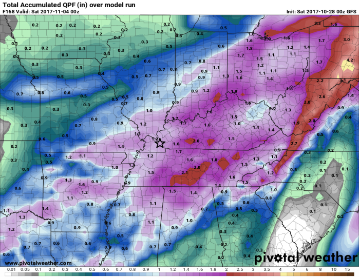 GFS Model Total Accumulated Rainfall Thru Friday - pivotalweather.com