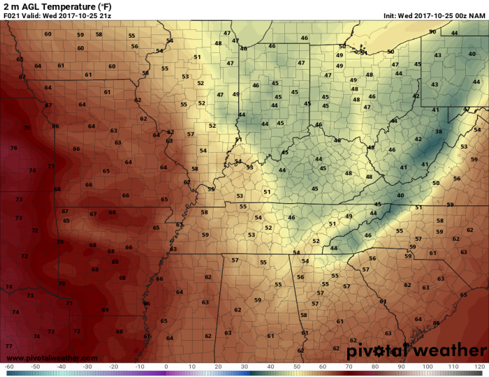 NAM Model Forecast Temperatures - Valid 4 PM - pivotalweather.com