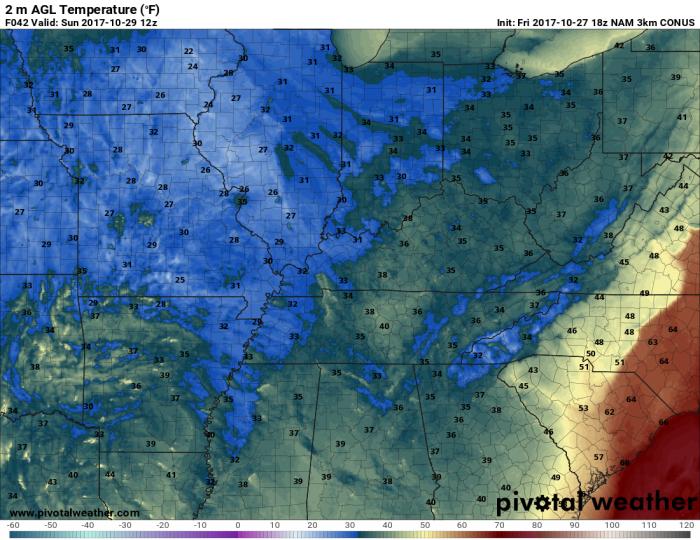 Hi-Res NAM Forecast Temperature - Valid 7 AM Sunday - pivotalweather.com