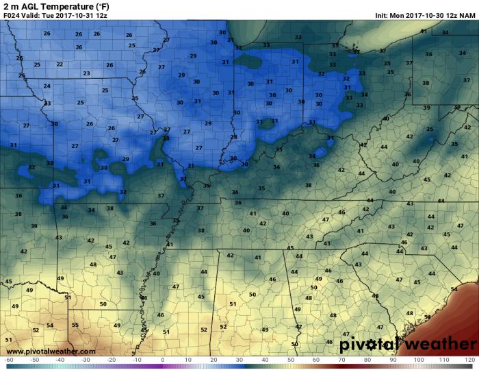 NAM Model Forecast Overnight Lows - pivotalweather.com