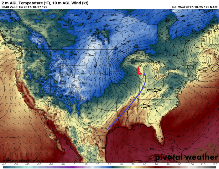 NAM Model Forecast Surface Temp/Pressure - Valid Friday AM - pivotalweather.com