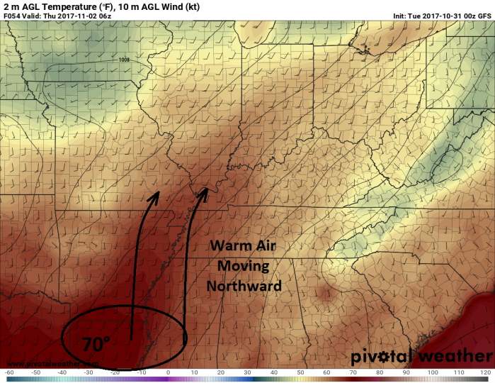 GFS Model Forecast Surface Wind/Temp - Valid Overnight Wednesday - pivotalweather.com