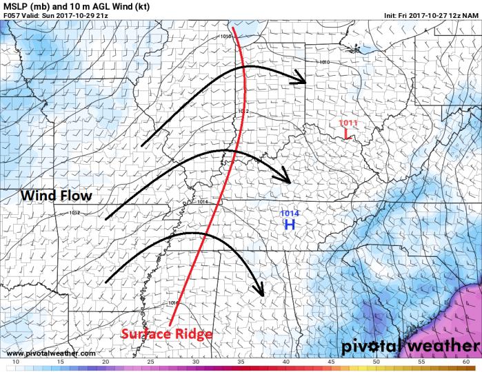 NAM Model Surface Pressure/Wind - Valid Sunday Afternoon - pivotalweather.com