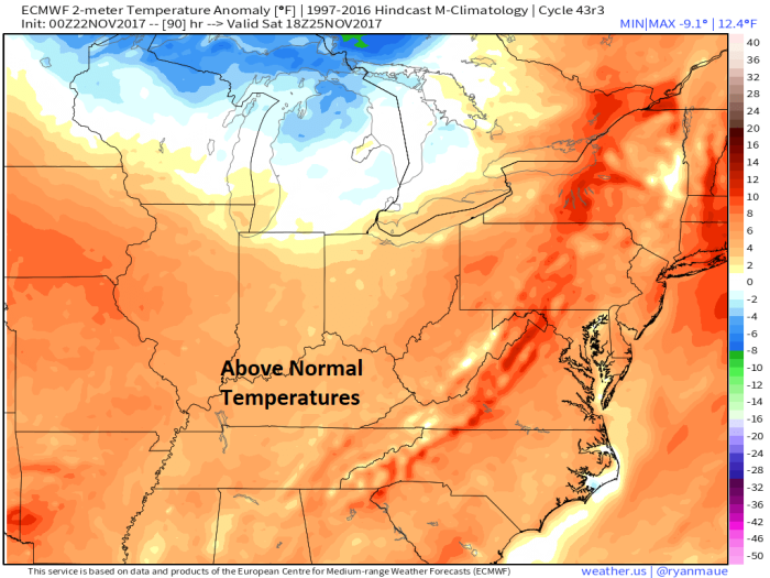 European Model Forecast Temperature Anomaly - Valid Saturday - weather.us