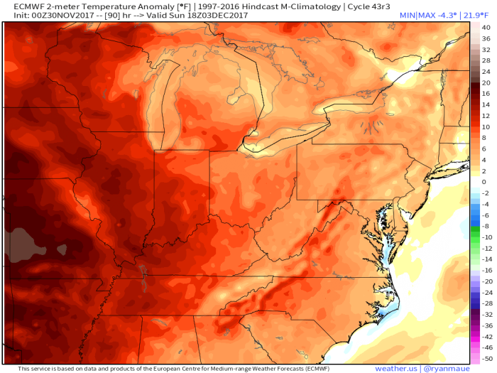 European Model Forecast Temperature Anomaly - Valid Sunday Afternoon - weather.us