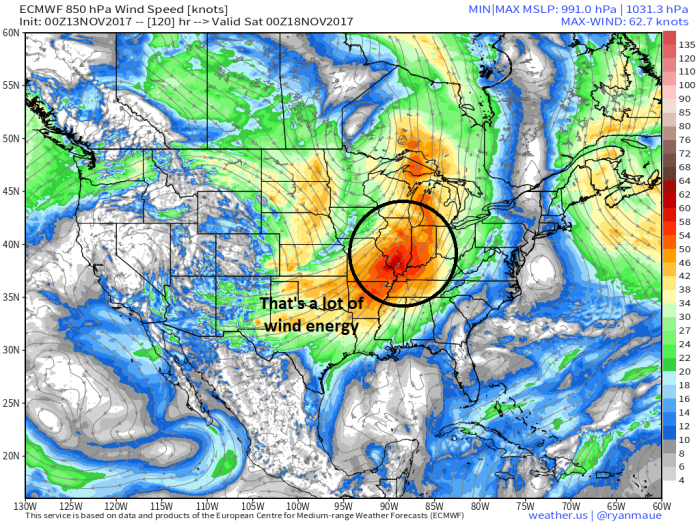 European Model Forecast Low-Level Wind Speed - Valid Friday Evening - weather.us