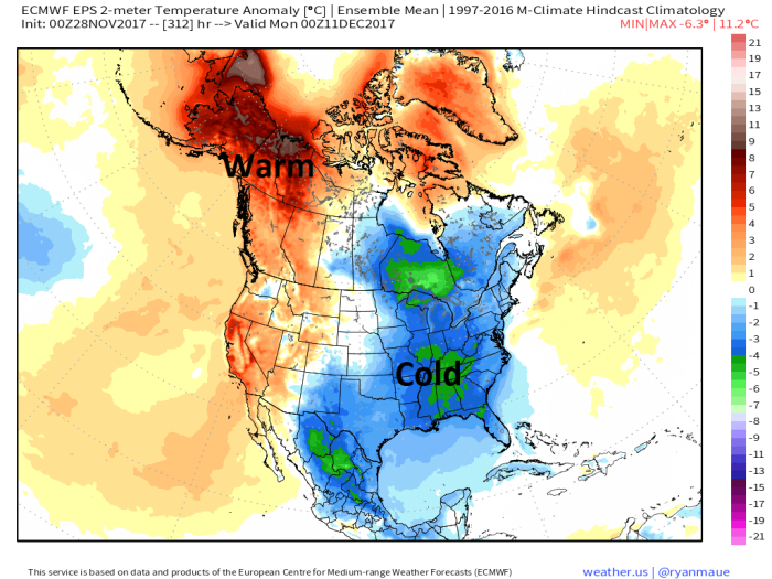 European Model Surface Temperature Anomaly - December 10th - weather.us
