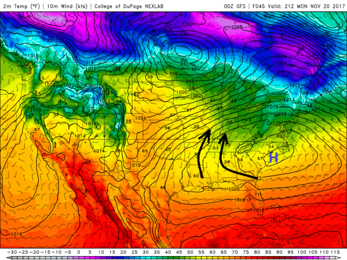 GFS Surface Model - Valid Monday Afternoon - College of DuPage