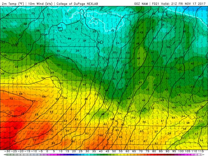 NAM Model Forecast Temperatures - Valid 3 PM - College of DuPage