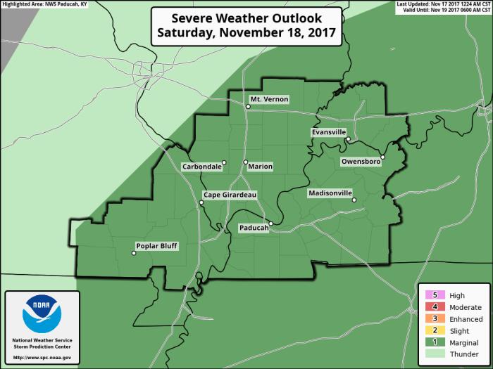 Severe Weather Outlook - Valid Saturday - NOAA SPC