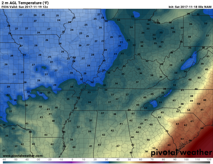 NAM Model Forecast Temperatures - Valid 6 AM Sunday - pivotalweather.com