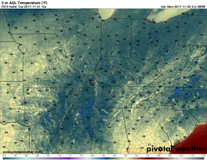 HRRR Model Forecast Temperatures - Valid Tuesday 6 AM - pivotalweather.com