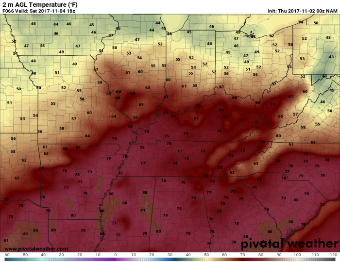 NAM Forecast Temperatures - Valid Saturday Afternoon - pivotalweather.com