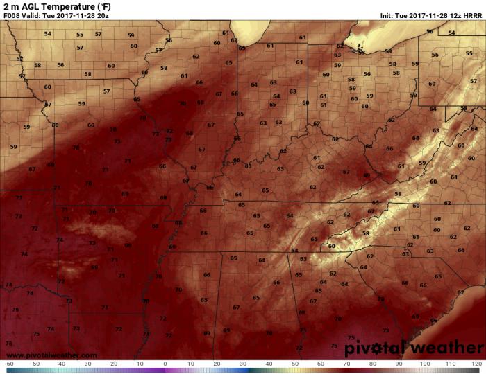 HRRR Model Forecast Temps - Valid 2 PM - pivotalweather.com