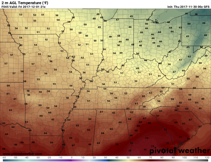 GFS Model Forecast Temperatures - Valid 3 PM Friday - pivotalweather.com