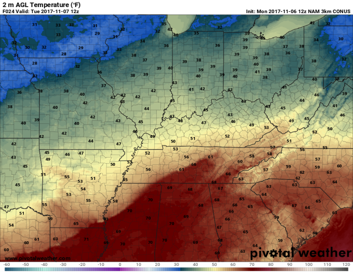 Hi-Res NAM Model Forecast Temperatures - Valid 6 AM Tuesday - pivotalweather.com