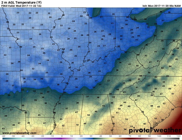 NAM Model Low Temperatures - Valid Tuesday Night/Wednesday Morning - pivotalweather.com