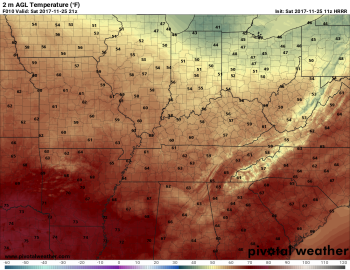 HRRR Model Forecast High Temperatures - Valid Today - pivotalweather.com