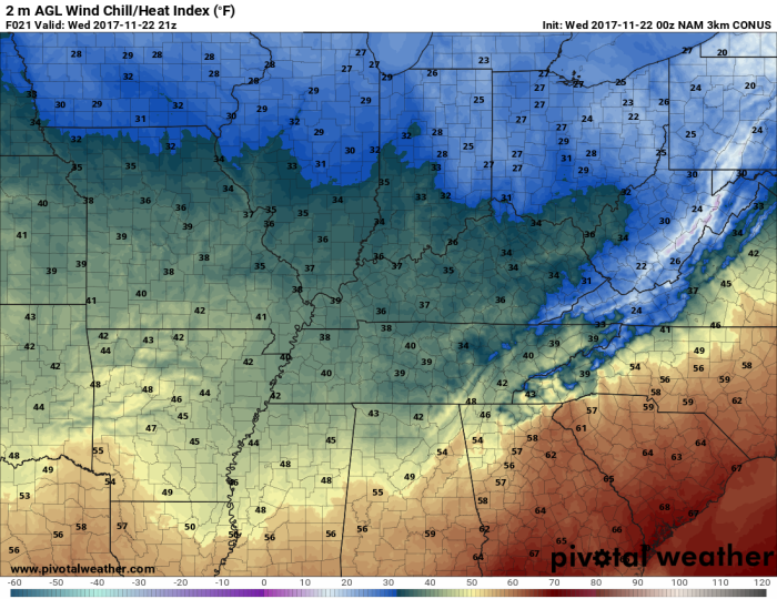 NAM Model Forecast Wind Chill - Valid This Afternoon - pivotalweather.com