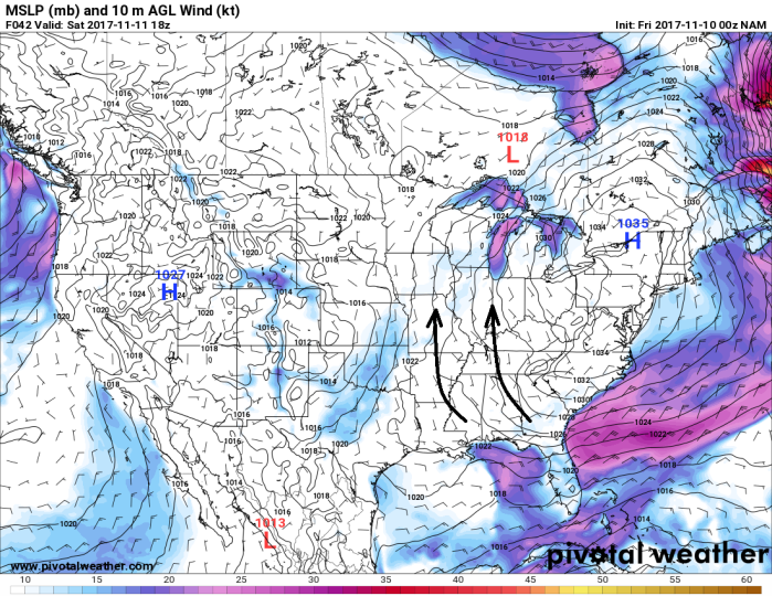 NAM Model Surface Wind - Valid Saturday - pivotalweather.com