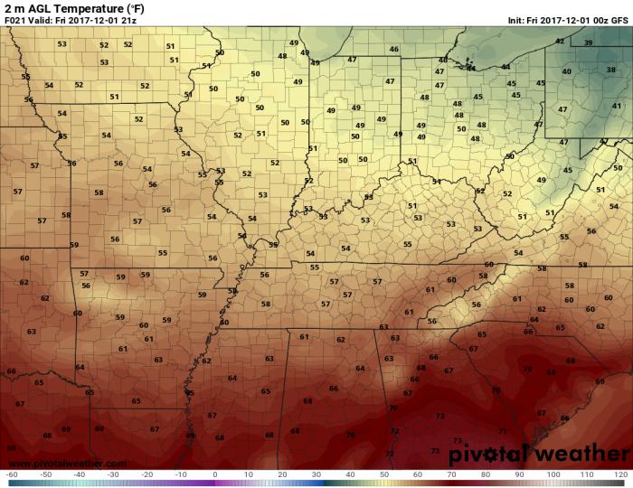 GFS Model Forecast Temperatures - Valid 3 PM - pivotalweather.com