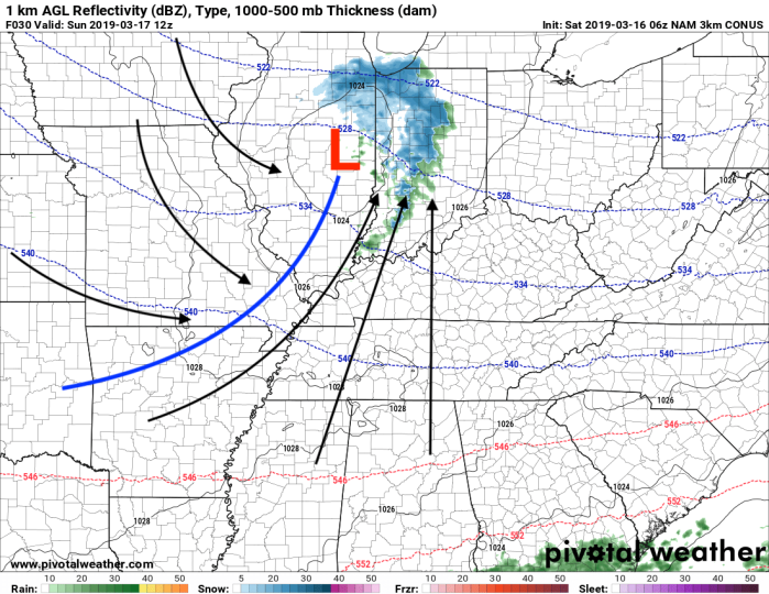 NAM Model Surface Analysis - Valid Sunday 7 AM - Pivotalweather.com
