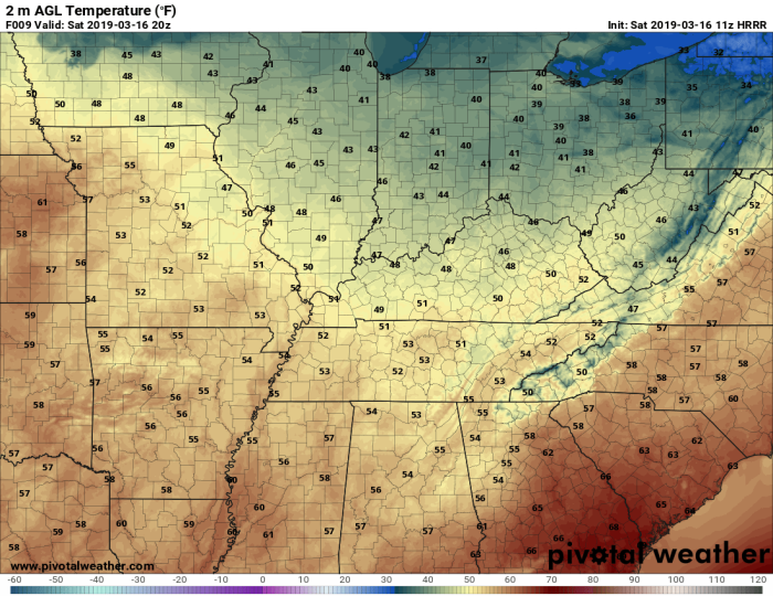 HRRR Model Forecast Temperatures - Valid 3 PM - Pivotalweather.com
